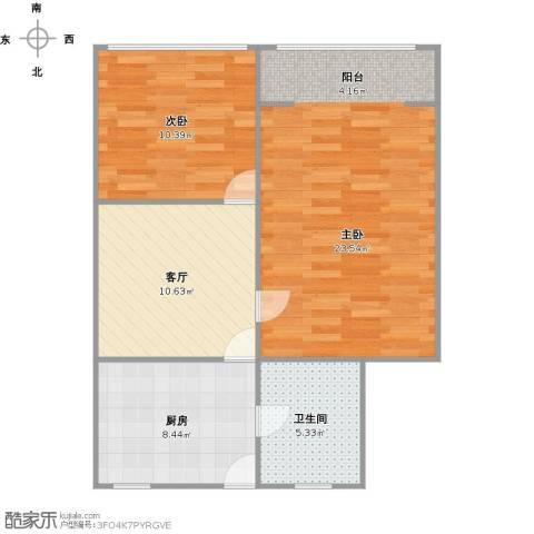 国和一村2室1厅1卫1厨77.00㎡户型图