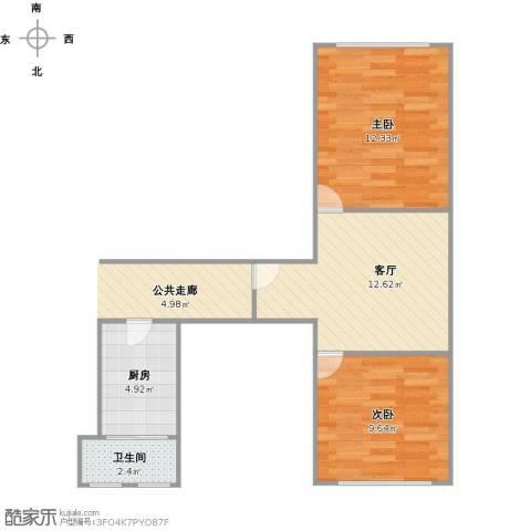 控江五村2室1厅1卫1厨56.00㎡户型图