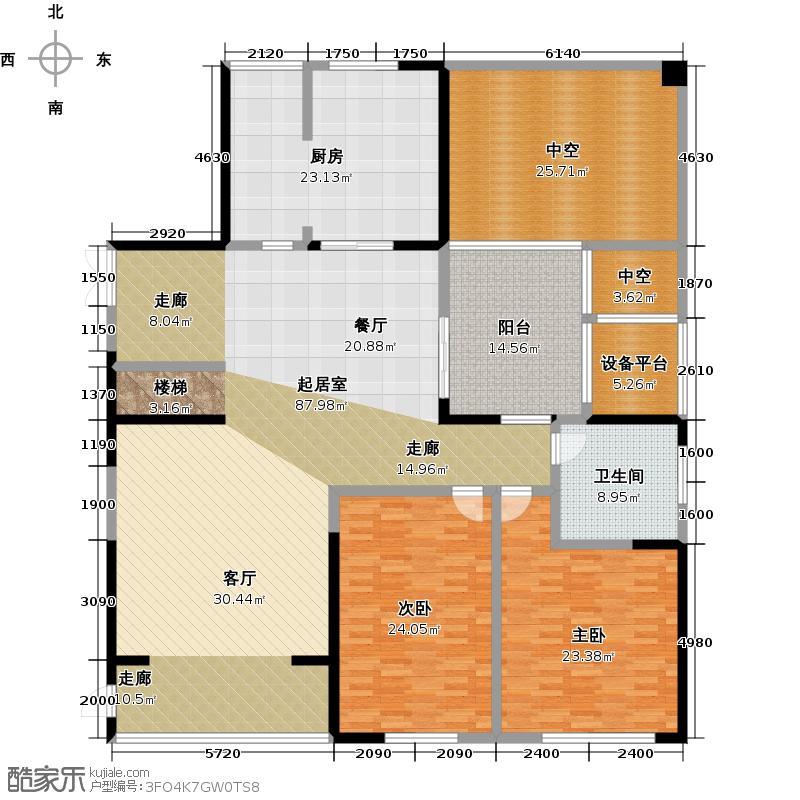 悦湖240.36㎡三期5#一层 3室1厅1卫户型3室1厅1卫
