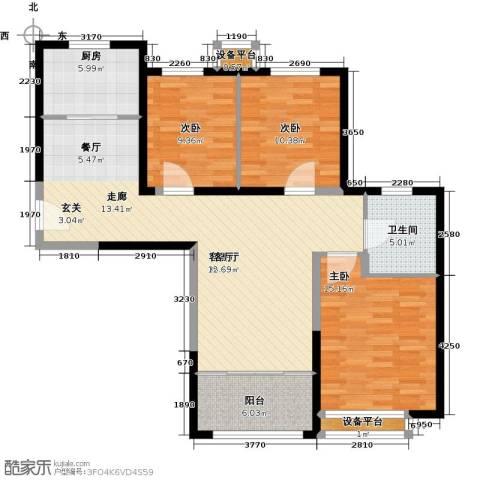 禧福・荷堂3室1厅1卫1厨101.00㎡户型图