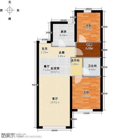 易和熙园3室0厅1卫1厨90.00㎡户型图