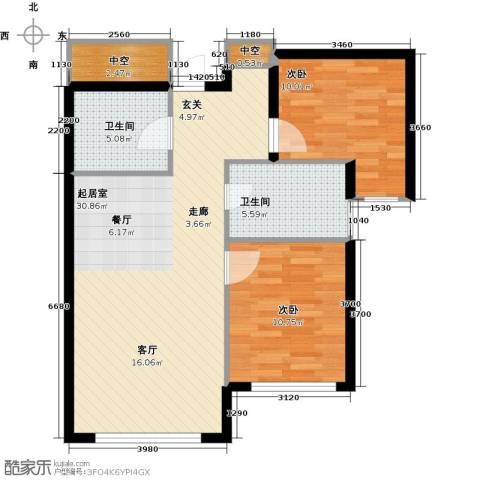 易和熙园2室0厅2卫0厨88.00㎡户型图