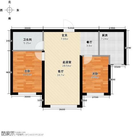 易和熙园2室0厅1卫1厨81.00㎡户型图