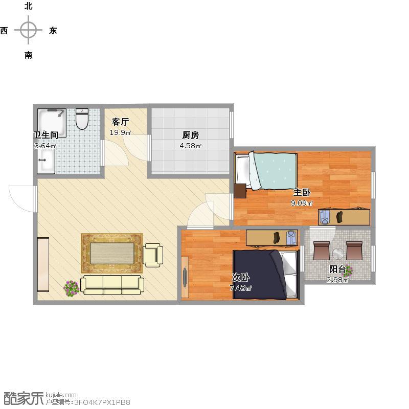 两室一厅58平