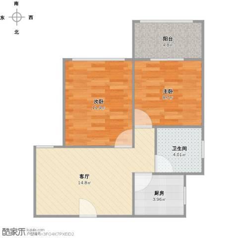 虹园六村2室1厅1卫1厨64.00㎡户型图