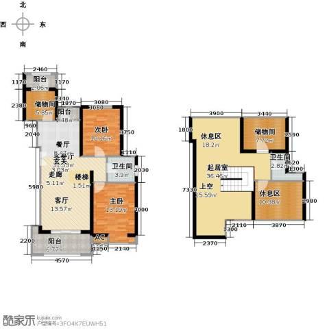 首开国风润城2室1厅2卫0厨148.00㎡户型图