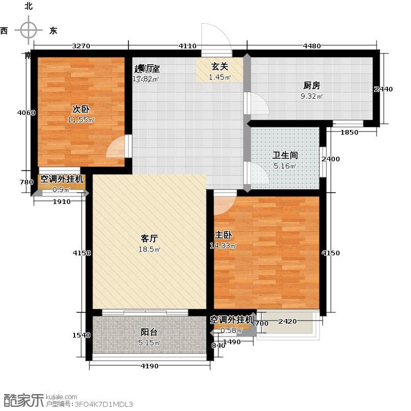 古澄花园94.00㎡F户型 两居室户型2室2厅1卫