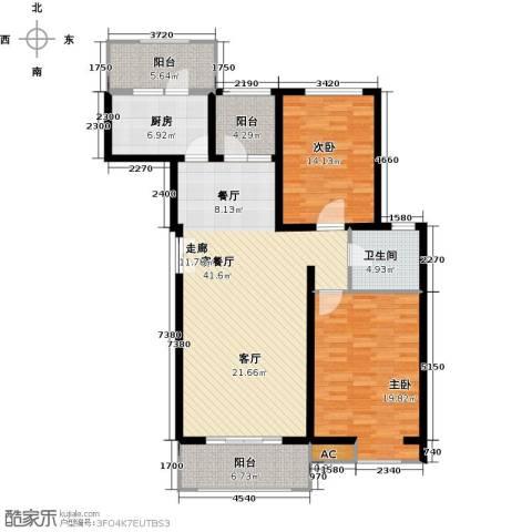 首开国风润城2室1厅1卫1厨118.00㎡户型图