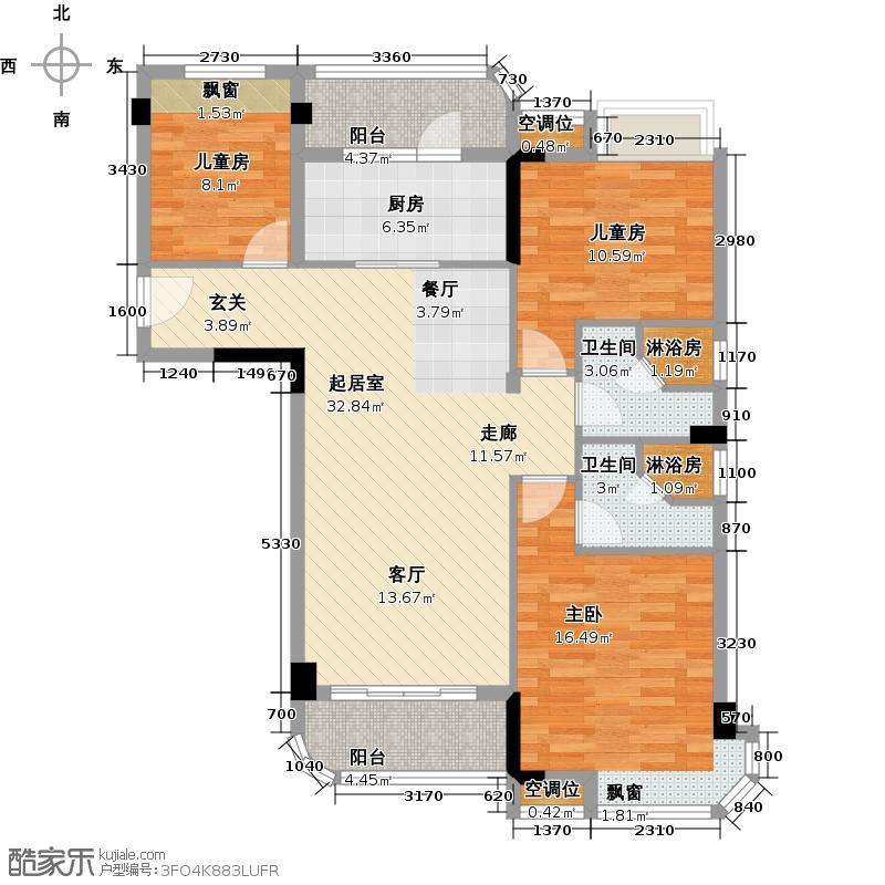 泰州碧桂园林湖郡106.00㎡林湖郡水畔洋房 J475-A户型3室2厅2卫