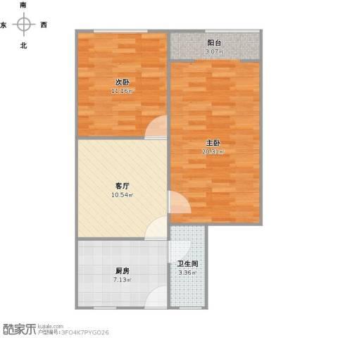博山小区2室1厅1卫1厨70.00㎡户型图