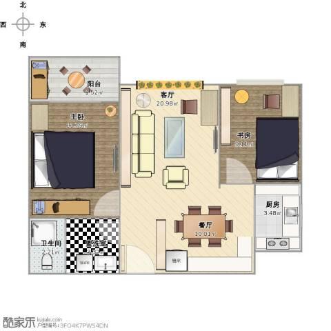 华豪丽晶2室1厅1卫1厨76.00㎡户型图