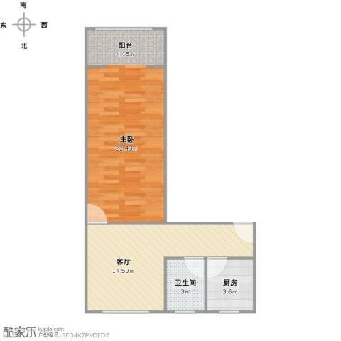 寿祥坊1室1厅1卫1厨58.00㎡户型图