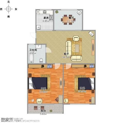 清泰小区2室2厅1卫1厨125.16㎡户型图