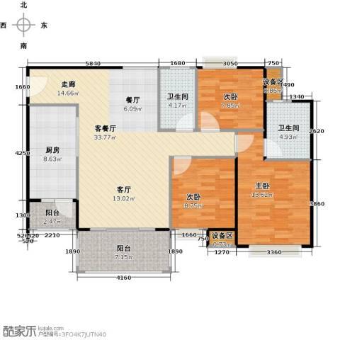 联运怡景苑3室1厅2卫1厨110.00㎡户型图