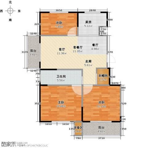 临沂未来城3室1厅1卫1厨104.00㎡户型图