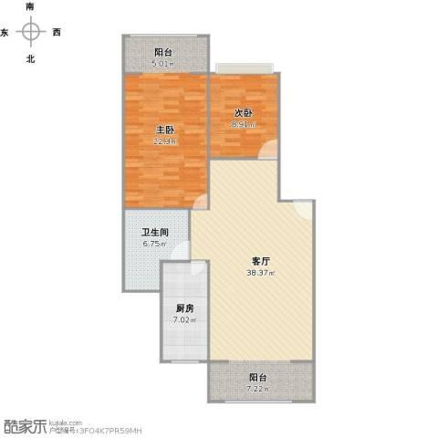 安达家园桃源富邦2室1厅1卫1厨110.00㎡户型图