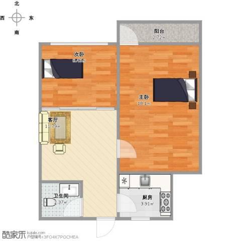 花园小区2室1厅1卫1厨64.00㎡户型图