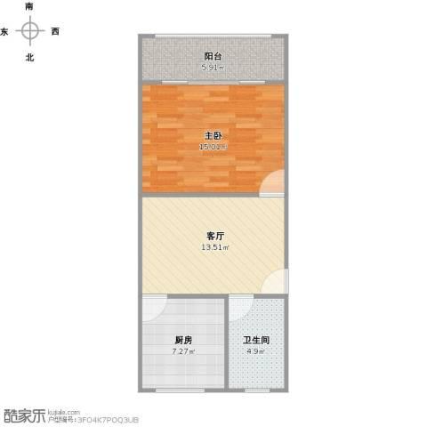 国和一村1室1厅1卫1厨63.00㎡户型图