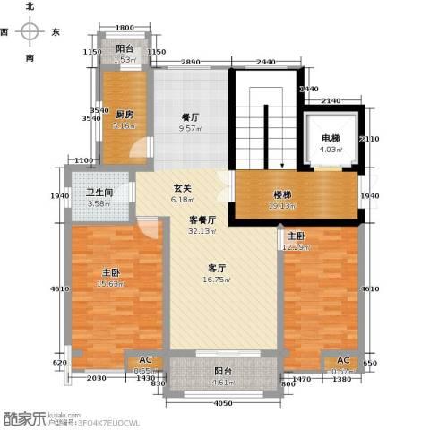 首开国风润城2室1厅1卫1厨110.00㎡户型图