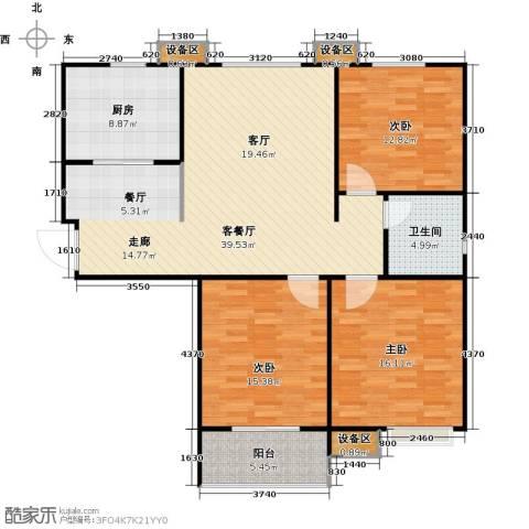 德州熙凤居3室1厅1卫1厨141.00㎡户型图
