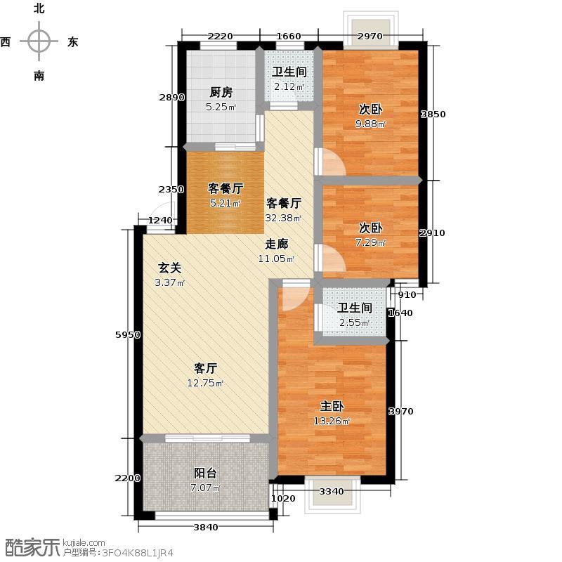 中央・幸福里1#栋B户型109.58㎡户型3室2厅2卫