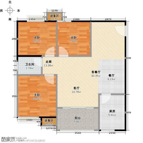 联运怡景苑3室1厅1卫1厨87.00㎡户型图