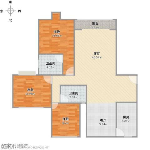 华丽家族花园3室1厅2卫1厨122.00㎡户型图
