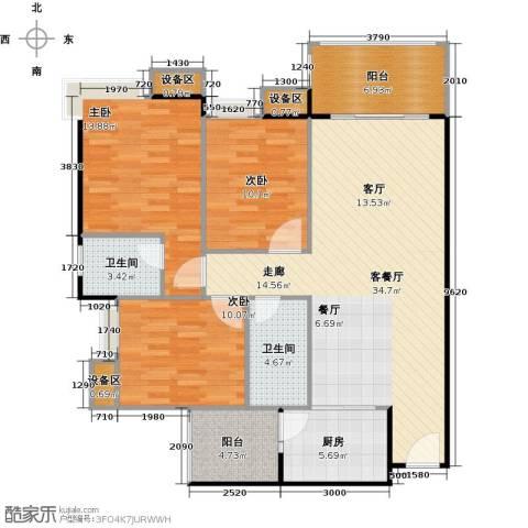 联运怡景苑3室1厅2卫1厨109.00㎡户型图