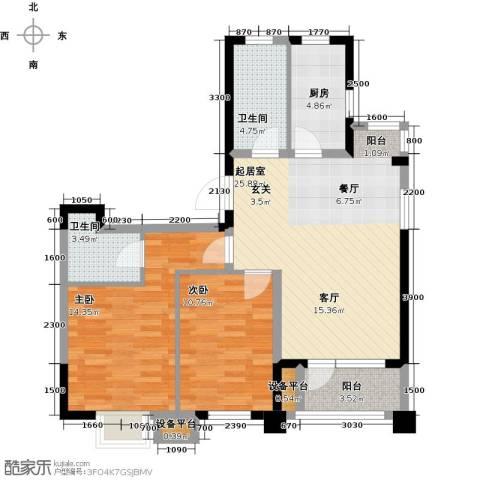 阳光新业国际2室0厅2卫1厨91.00㎡户型图
