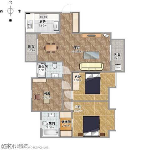 阿卡迪亚3室1厅2卫1厨110.00㎡户型图