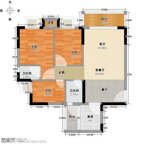 神州华府二期3室1厅2卫1厨90.00㎡户型图