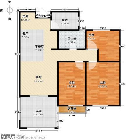 枫丹翡翠公馆3室1厅1卫1厨117.00㎡户型图