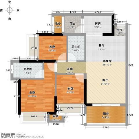 神州华府二期3室1厅2卫1厨89.00㎡户型图