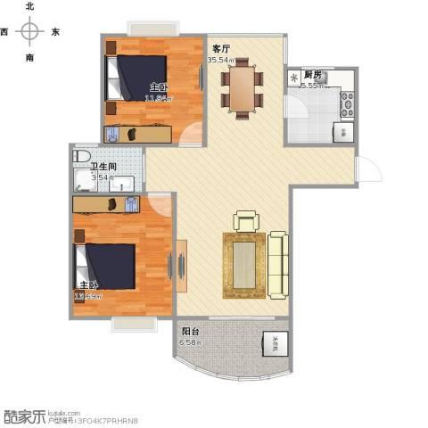 盛世新江湾2室1厅1卫1厨103.00㎡户型图