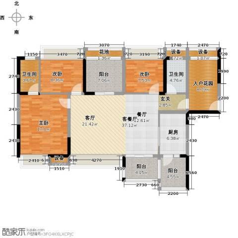 神州华府二期3室1厅2卫1厨119.00㎡户型图