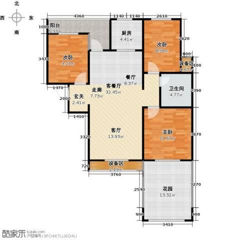 枫丹翡翠公馆3室1厅1卫1厨126.00㎡户型图