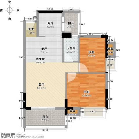 神州华府二期2室1厅1卫1厨79.00㎡户型图
