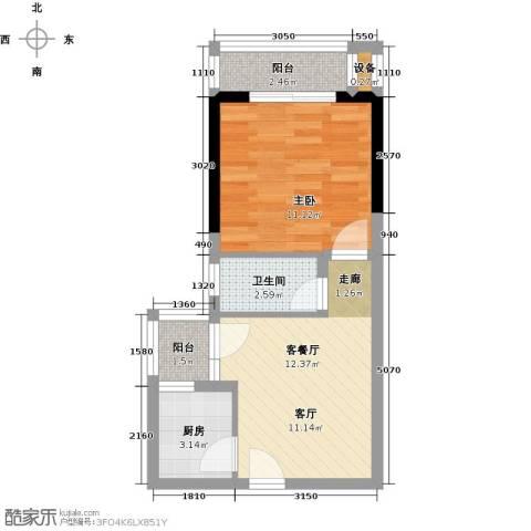 神州华府二期1室1厅1卫1厨39.00㎡户型图