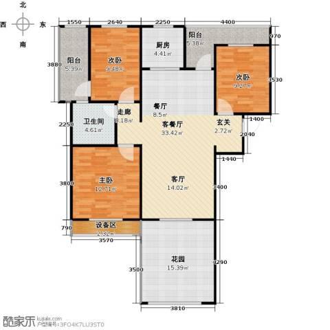 枫丹翡翠公馆3室1厅1卫1厨138.00㎡户型图