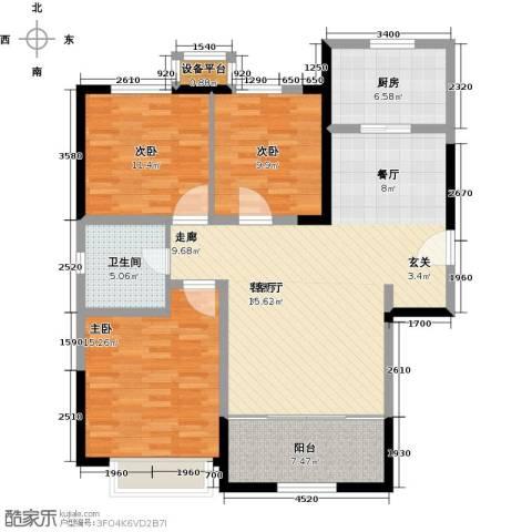 禧福・荷堂3室1厅1卫1厨105.00㎡户型图