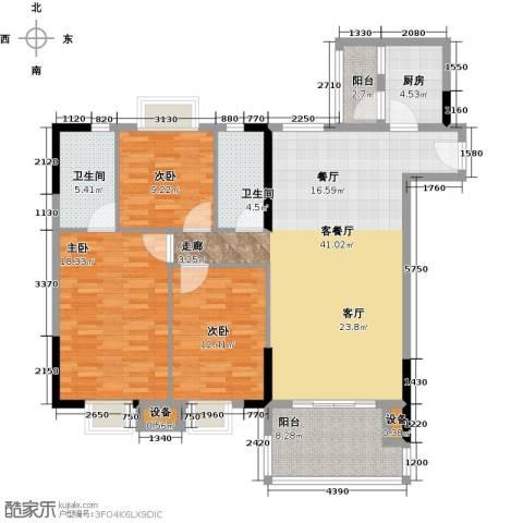 神州华府二期3室1厅2卫1厨122.00㎡户型图