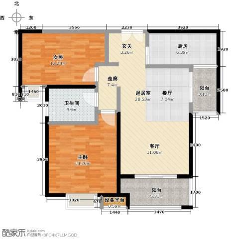 实地・玫瑰庄园2室0厅1卫1厨87.00㎡户型图
