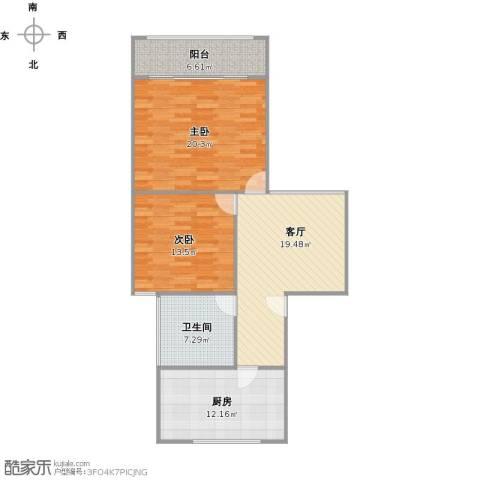 平阳三村2室1厅1卫1厨106.00㎡户型图