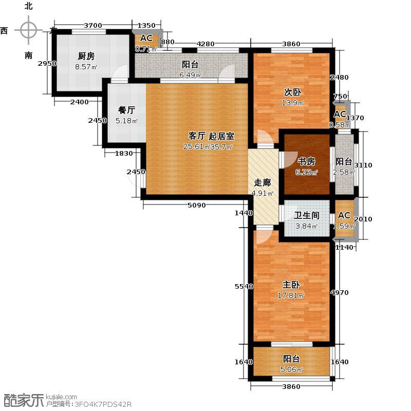 明湖・太学苑118.16㎡舒适三居户型3室2厅1卫
