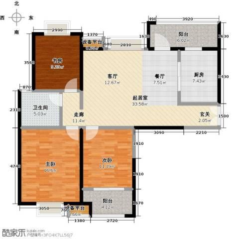 实地・玫瑰庄园3室0厅1卫1厨108.00㎡户型图