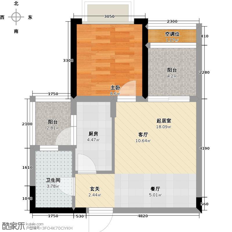 恒大御景湾52.00㎡2号楼3/4户型1室2厅1卫