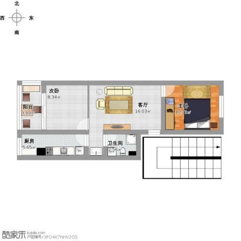 建欣苑三里2室1厅1卫1厨73.00㎡户型图