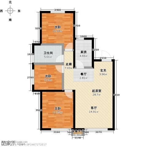 华润凯旋门3室0厅1卫1厨77.01㎡户型图