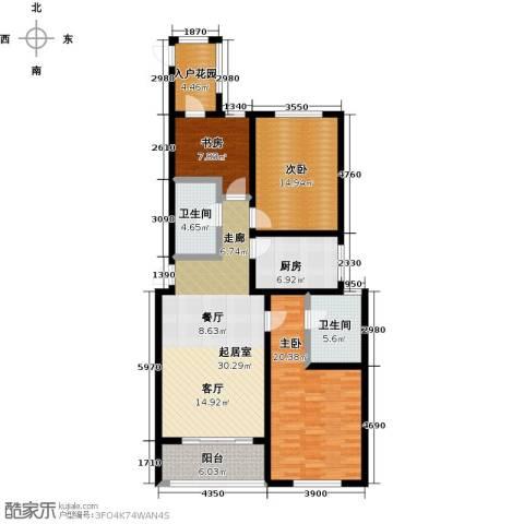 邢台玫瑰镇3室0厅2卫1厨117.00㎡户型图