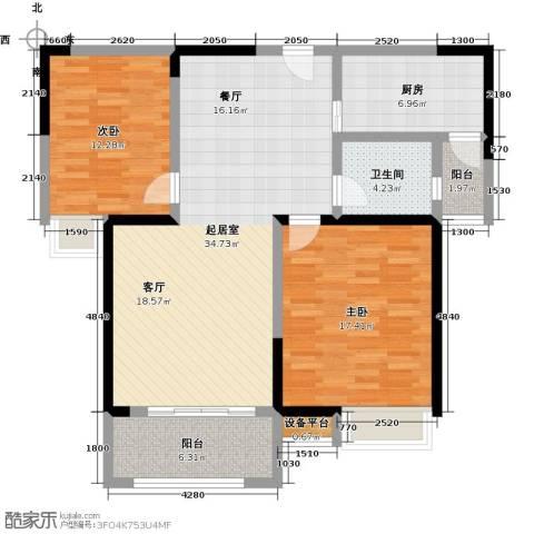 新都首席华庭2室0厅1卫1厨97.00㎡户型图